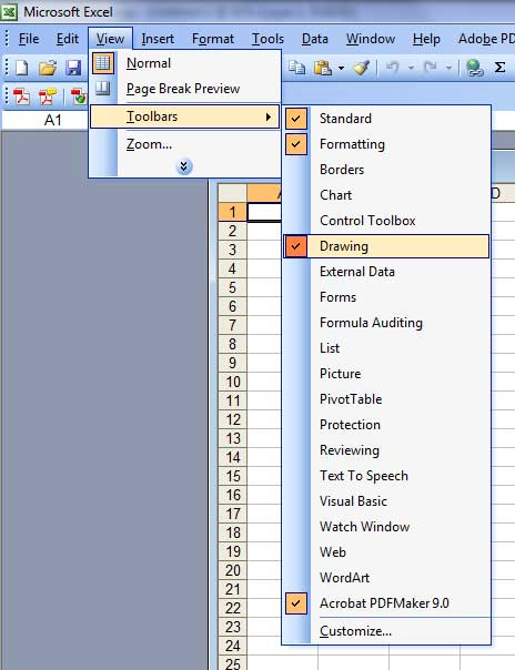 Turn on drawing toolbar in excel